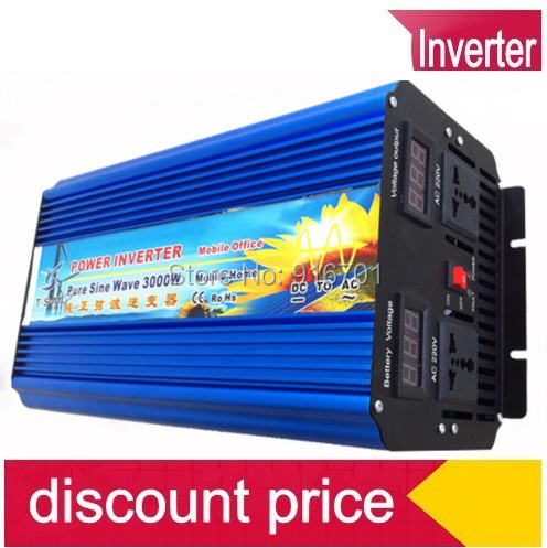 6000W peak Free Shipping 3000W Power Inverter Pure Sine Wave DC 12V to AC 220V Solar/Wind/Car/Gas Power Generation Converter