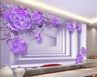 Custom HD Fresco 3D Purple East Elegant Rose Background Wall Papel De Parede Para Quarto Photo