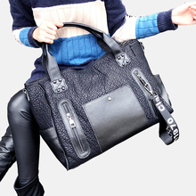 Large Capacity 41cm Women Bag Sheepskin Genuine Leather Tote Black Shopping Crossbody Bag For Women Bolsa Feminina Messenger Bag