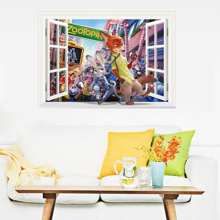 Cartoon Tier Stadt Dekoration Wandaufkleber Kinder Haus Wohnzimmer Schlafzimmer Wandbild Aufkleber Abnehmbare Zootopia Wohnkultur Lch
