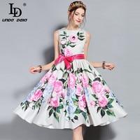 LD LINDA DELLA Runway Designer Summer Dress Women S Sleeveless Tank Elegant Bow Belt Rose Floral