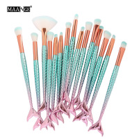 15Pcs Mermaid Eyes Makeup Brushes Professional Eye Shadow Foundation Eyebrow Lip Fan Blusher Brush Cosmetic Make