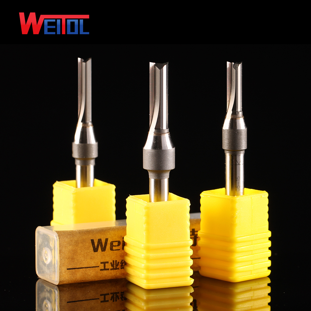 Weitol 6.35mm TCT double flutes straight router bits tungsten carbide wood milling cutter two flutes straight bit weitol 5a series  6mm  two flutes