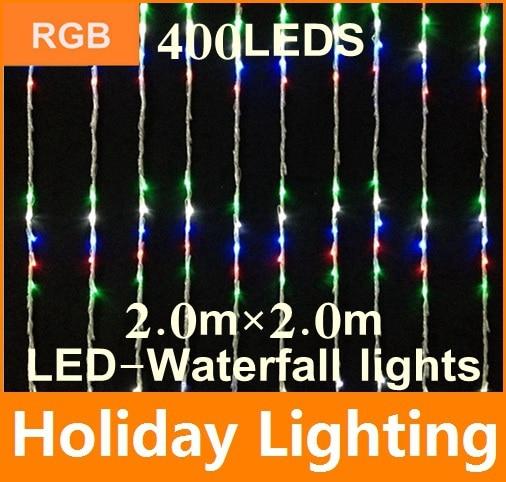 400leds led Waterfall net string light Garden Plaza outdoor decoration 110V 220V 2*2m christmas Holiday Decoration Lighting