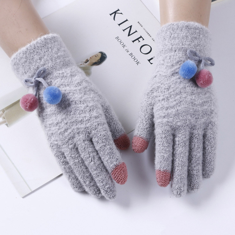 Female Fashion Flexible Knit Touch Phone Screen Gloves Winter Women Cashmere Full Finger Warm Cute Fur Ball Cycling Gloves A50