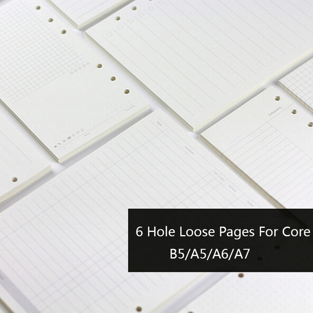 A5 A6 A7 Creative 6 Holes Planner Filler Papers For Filofax Office School Spiral Notebook Filler Paper Binder Inner Pages