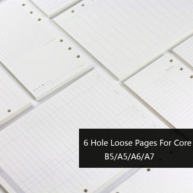 A5 A6 A7 Creative 6 Trous Planificateur les Papiers De Remplissage Pour Filofax Bureau Spirale École Papier De Bourrage Liant Pages Intérieures