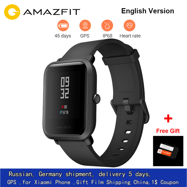 [English Version]Amazfit Bip Smart Watch Xiaomi Huami Sports GPS Smartwatch Android iOS Heart Rate Monitor 45 Days Battery IP68