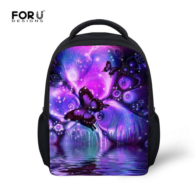 dcea0f122f FORUDESIGNS Butterfly Printing Baby Kids School Bags