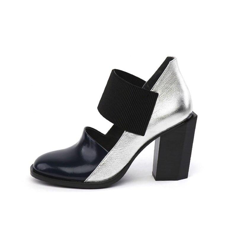여성 신발 높은 뒤꿈치 플랫폼 라운드 발가락 혼합 된 색상 정품 가죽 실린더 높은 뒤꿈치 가을 신발 여성 펌프 hl87 muyisexi-에서여성용 펌프부터 신발 의  그룹 2