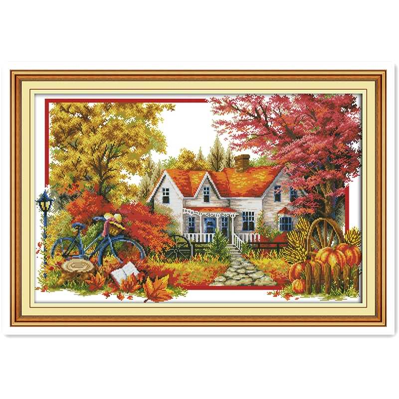 The Autumn House 11CT Printed On Canvas joy sunday cross stitch Chinese Counted Cross Stitch Patterns Kits Embroidery Cross Set