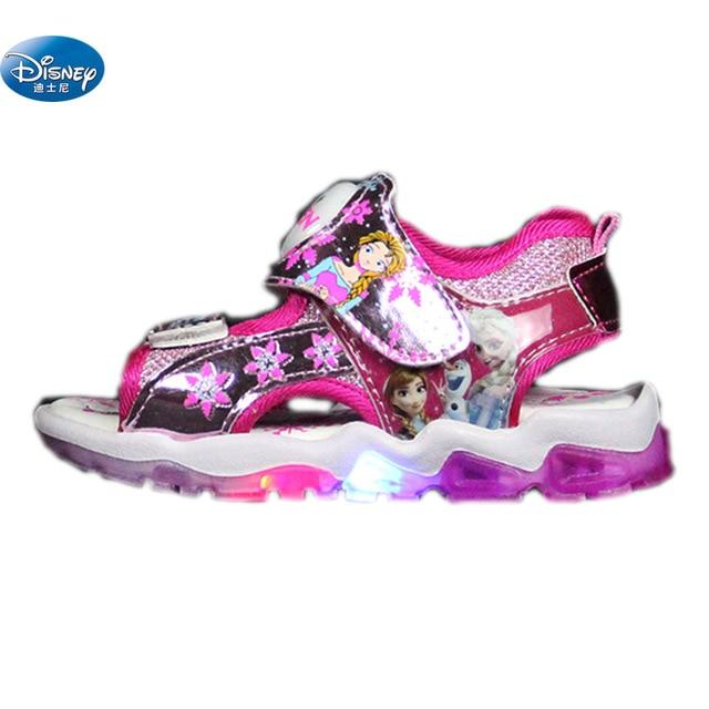 2da43b1b9 Disney frozen niñas sandalias con nueva luz LED 2108 Elsa y Anna princesa  Kids Cartoon Europa