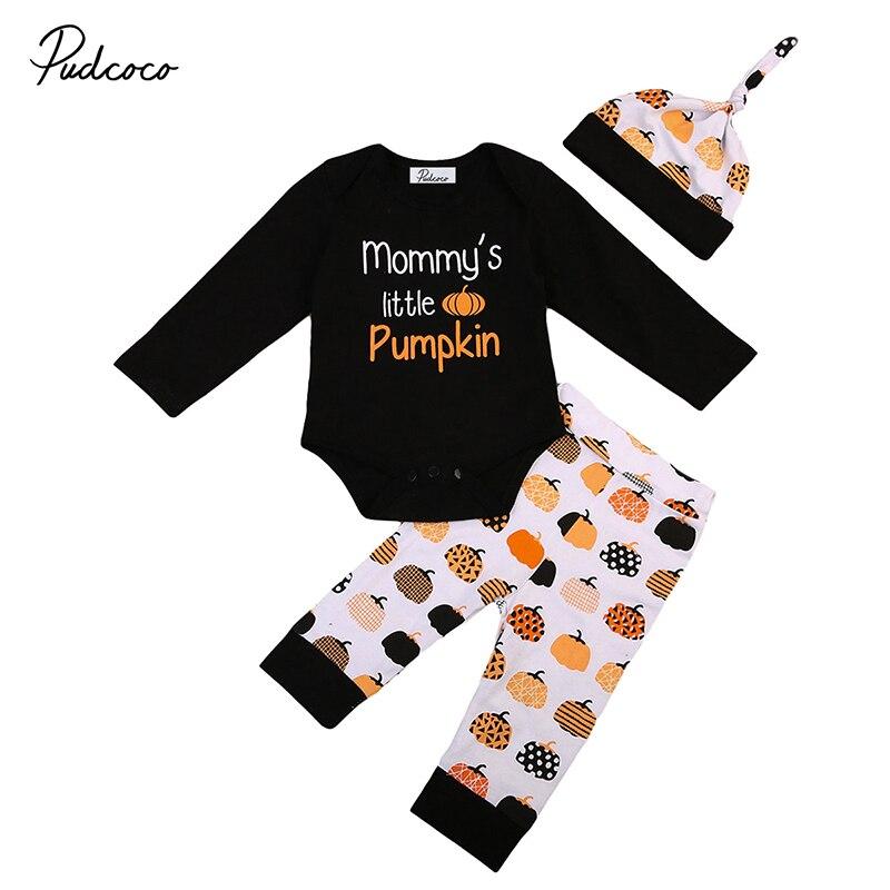 2017 Хэллоуин Одежда для новорожденных для маленьких мальчиков с длинными рукавами для девочек мамочка маленькая тыква комбинезон брюки шля...