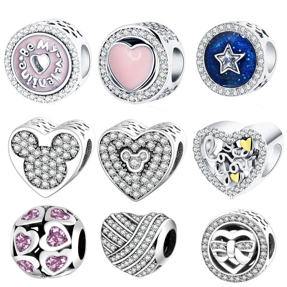 Love You Heart Charms Fit Original Pandora Charms Bracelet 925 Sterling  Silver 2017 Valentine's Day Beads