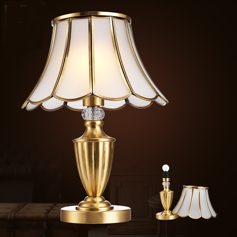 A1 Copper Style Living Room Table Lamp Bedroom Bedside Manual Brass Simple European American Pastoral ZL306