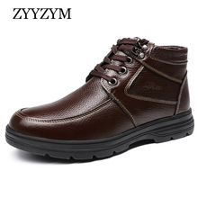ZYYZYM Men Snow Boots Winter Lace Up Style Cow Leather Shoes Ankle Plush Keep Warm Male Cotton Shoes high Quality