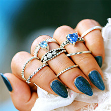 8Pcs/set Boho Heart Midi Rings Set For Women Lover Finger Knuckle Blue Crystal Ring Statement Vintage Silver Jewelry Gift