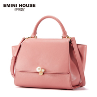 EMINI HOUSE Pearl Top Handle Bag Split Leather Shoulder Bag Crossbody Bags For Women Luxury Handbags