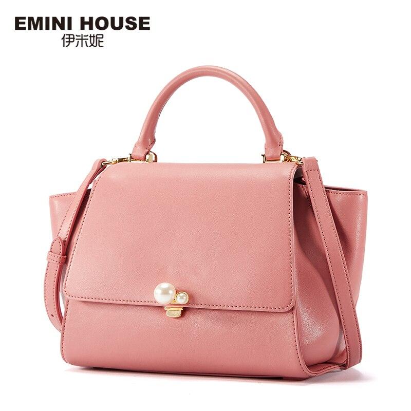 EMINI HOUSE Luxury Handbags Women Bags Designer Ladies Hand Bags Split Leather Pearl Series Shoulder Crossbody Bags For Women