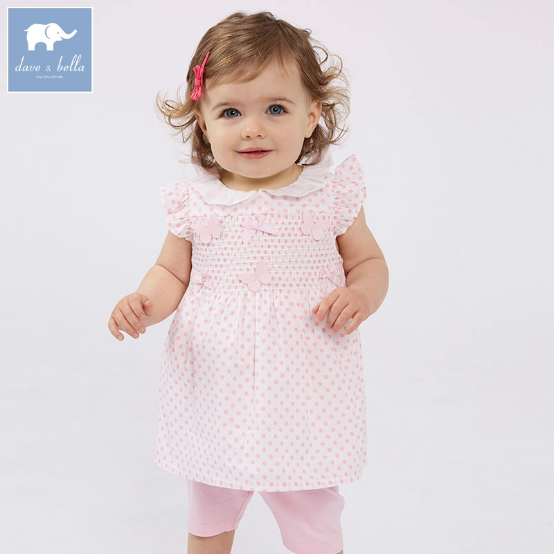 DBM7451 dave bella summer baby girl's clothing sets children infant toddler suit kids high quality clothes