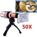 Apexel aluminio de alta definición 50X Zoom de la lente del telescopio con la cámara trípode y estuche rígido para el iphone 6 lente Zoom telefoto CL-48IP6