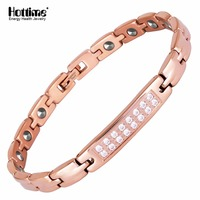 Hottime Sparkling Womens Czech Crystal Healing 17 PCS 99 9999 Germanium Bracelet Activate Cells And Prolong