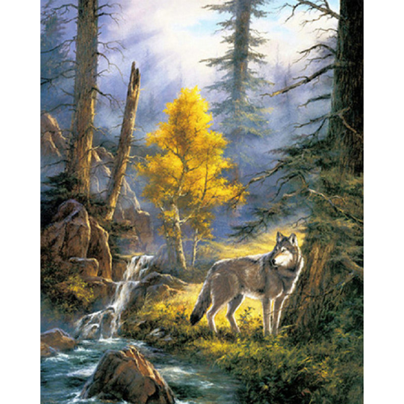 YIKEE diamond painting The forest wolf,full square diamond painting,diamond painting embroidery Y1655