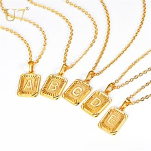 U7 Square Letters Necklaces Pendant Chain Necklace for Women Men English Initial Name Alphabet Jewelry Best Birthday Gifts P1196