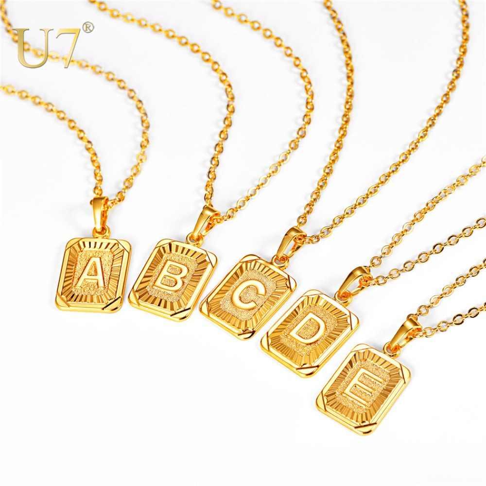 0d2b5ff20dccf U7 Square Letters Necklaces Pendant Chain Necklace for Women Men ...