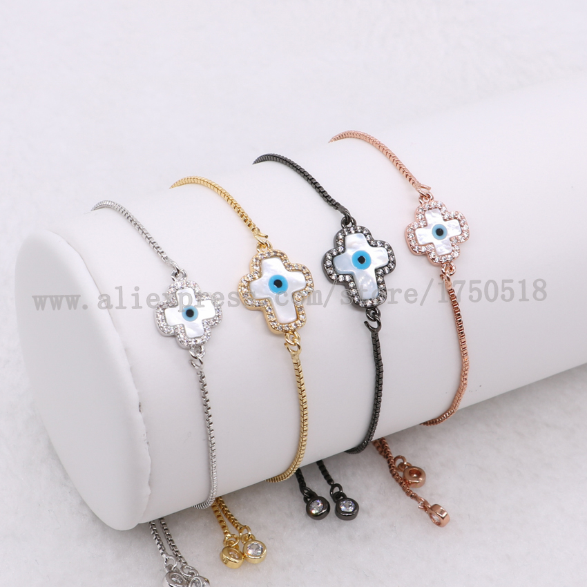 Wholesale micro pave zircon Cross & Turkish eyes pendant bracelets clover jewelry adjustable chain Macrame for women 1056