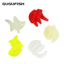 цена GUGUFISH Corn worm 50PCS 2cm 0.3g maggot Grub Soft Fishing Lure hooks smell Worms Glow Shrimps Fish Lures онлайн в 2017 году