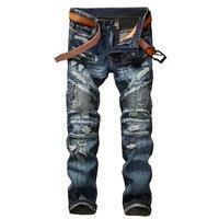 New Hi Street Men's Ripped Biker Jeans Brand Designer Male Distressed Holes Denim Trousers Multi Cotton Zipper Patchwork Pants