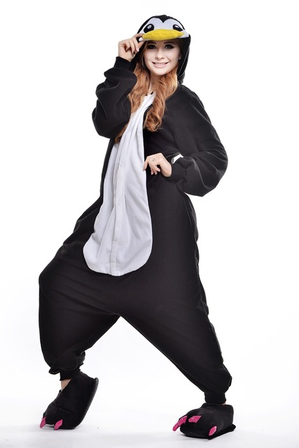 50dcd7b6d070b Adult Penguin Onesie/ Animal Footed Pajamas/ Plus Size Polar Fleece  Halloween Costumes for Women/ Anime Onesie/ Anime Pajamas