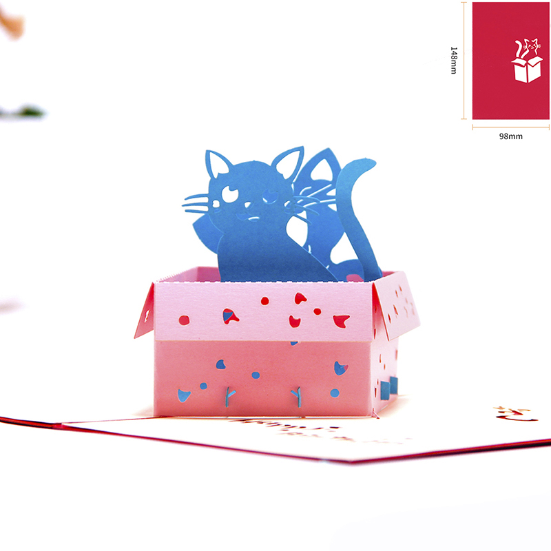 pop up birthday card kids cats handmade thank you card 3d