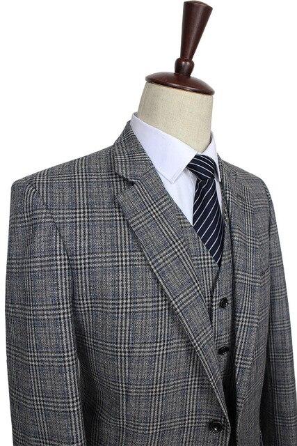 2016 personalizado traje de lana gris tradicional Tweed Retro estilo  británico Sastre boda slim fit Blazer 38727a78aed