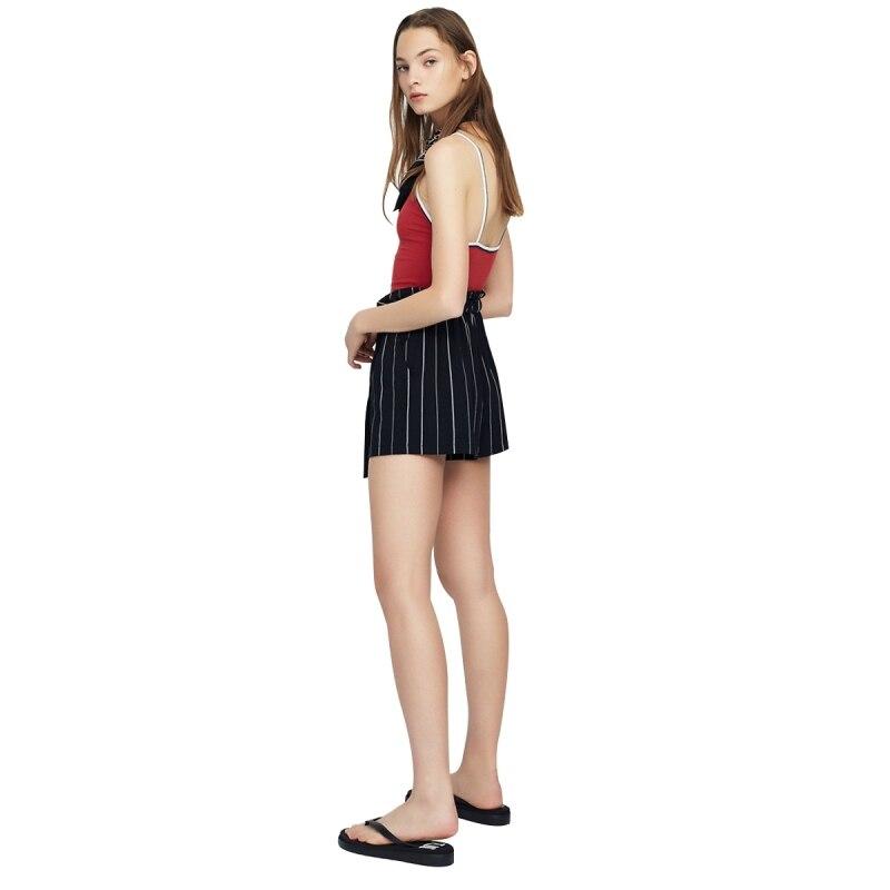 HDY Short Femme 2019 Women High Waisted Wide Leg Short Stripe Elastic Waist Shorts Feminino Plus Size haoduoyi Shorts Women M (5)