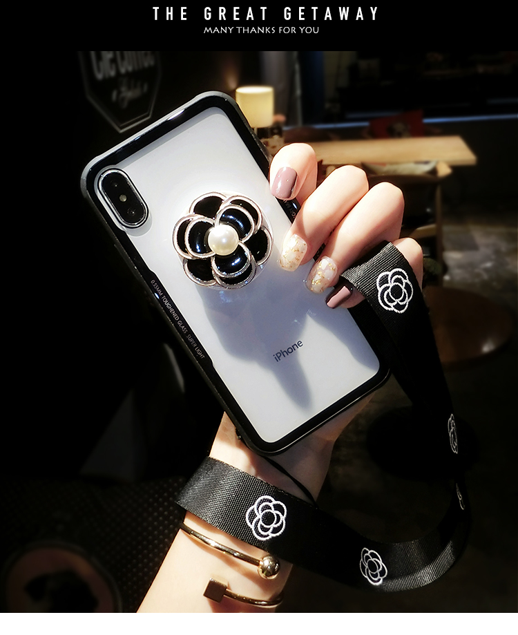 reputable site 8c01e 5e5b0 For Iphone XS Max XR X Copy Glass Clear Flower Case Grip Stand POP Expand  Stand Socket Cover For Iphone 8 7 6S 6 Plus SE 5S 5