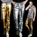 Moda ouro prata dos homens calças de couro fino trajes moda desgaste desempenho calças calças boate show desgaste estágio