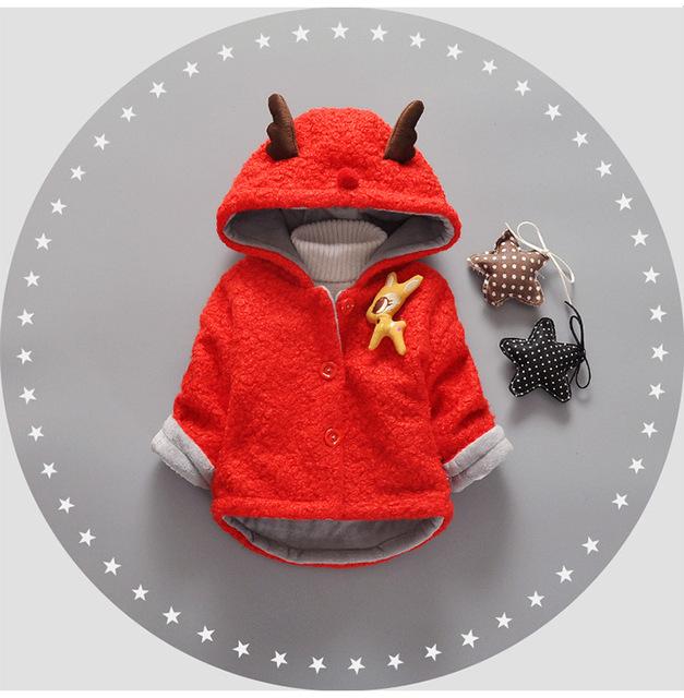 Bebé Parka Plus Niñas Gruesos Lindo Orejas de Conejo de la Nieve Desgaste Infantil Niñas prendas de Vestir Exteriores de Un Solo pecho Abrigo de Las Muchachas Del Niño ropa