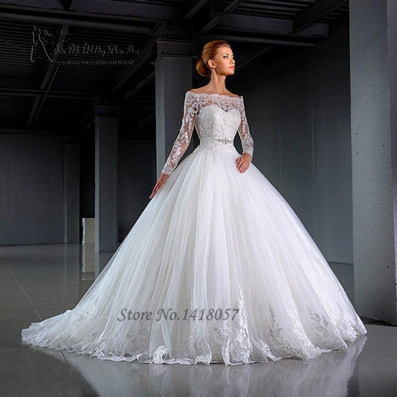 2016 Design White Long Sleeve Wedding Dresses Off Shoulder Lace Bridal Dress Ball Gown Vestido De Noiva Manga Longa In From