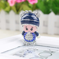Lovely Monchichi Key Chain Luxury Crystal Bear Hat Pendant Key Ring Monchhichi  keychain christmas Birthday Gift Keychain