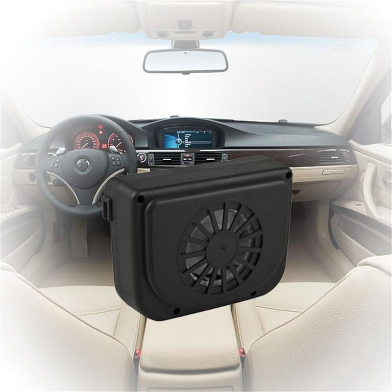 MASO Solar Powered Car Exhaust Fan Car Radiator Fan Energy Saving Air Vent Radiator Air Purifiers 2W ABS(Black)