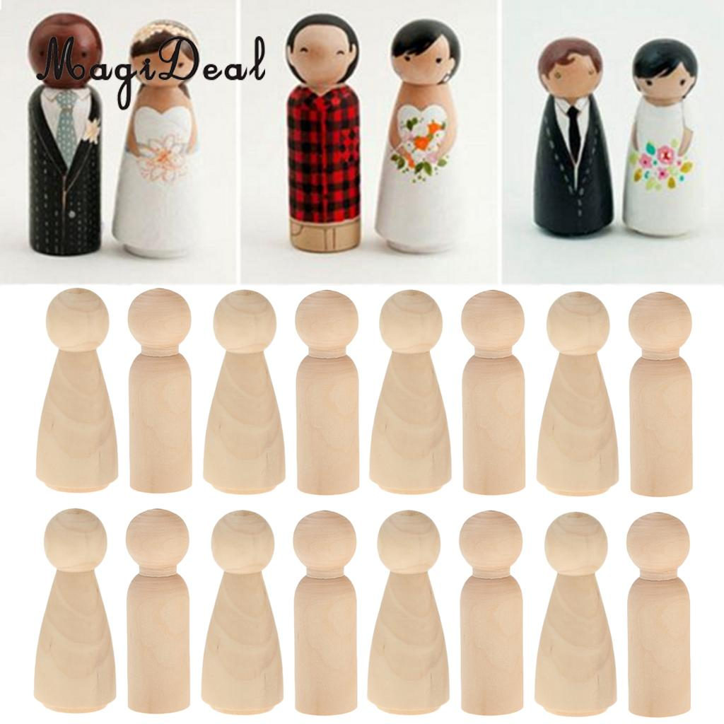 120 set Female Male Wood Peg Dolls Figures Wedding Bride Groom Cake Toppers