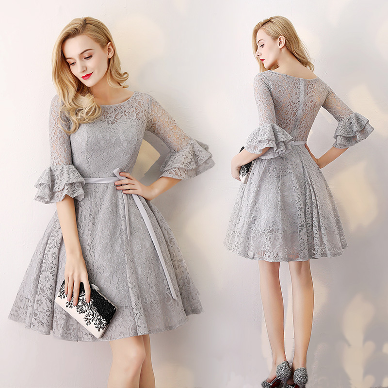 Gray 3/4 Long Sleeve Lace Short Bridesmaid Dress