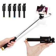 Venta caliente mini con conexión de cable selfie stick 18.5-80 cm monopod soporte plegable para 4 pulgadas-6 pulgadas xiaomi huawei/meizu/samsung/iphone5 6 6 s