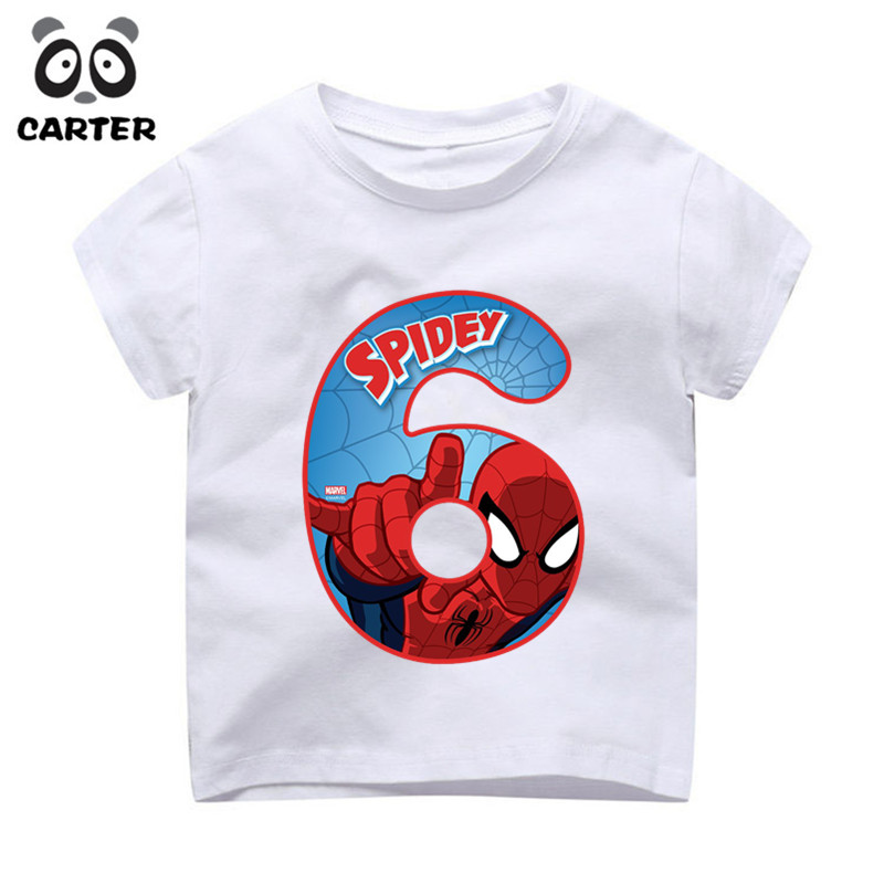 Kids Happy Birthday Number 19th Spiderman Print T Shirts Boy And Girl Superhero Tshirt Baby Summer Top Children Clothes In From Mother