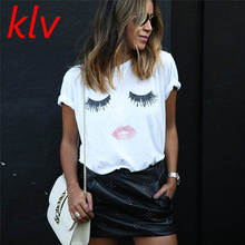 KLV Harajuku Cat T Shirt Women  Blusa Summer Fashion Eyelash Red Lips Print Originality O-Neck Short Sleeve T-shirt Tops