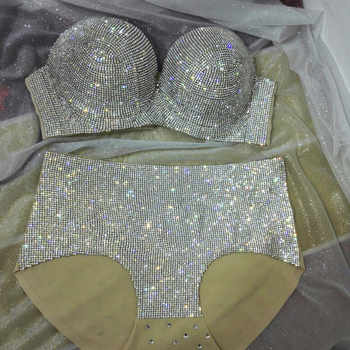 Fashiion 2017 Sexy Crystals Bikini Women Sexy Bling Outfit Silver Gold Bra Short Costumes Singer Stage Party Celebrate Wear - DISCOUNT ITEM  15% OFF All Category