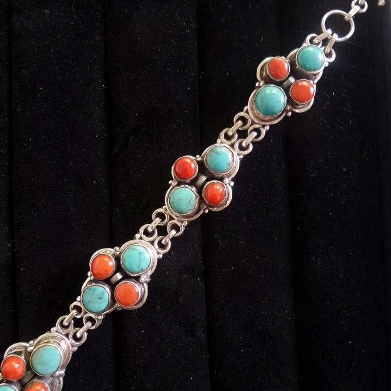 T9006 Nepal 925 Sterling Silver Vintage Jewelry Inlay Natural Turquoises Coral Beads Chain Bracelets-in Chain & Link Bracelets from Jewelry & Accessories    1