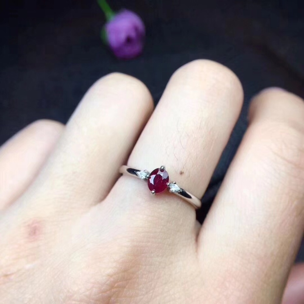 Natural ruby ring Free shipping Natural real ruby 925 sterling silver Finger rings 4*5mm Gem faux ruby engraved fret finger ring